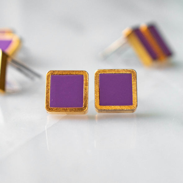 Brass Framed Square Studs