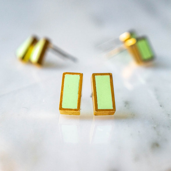 Brass Framed Rectangle Studs