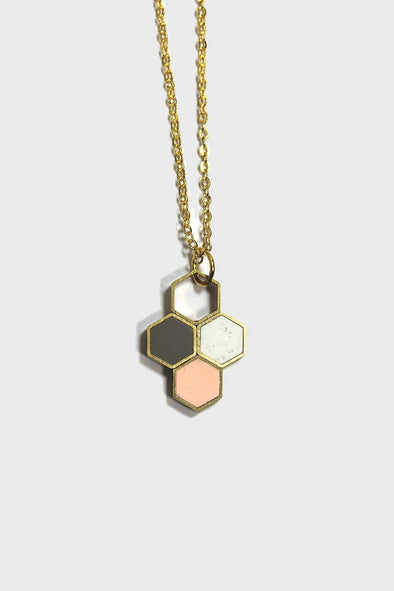 Tri-color Hex Pendant Necklace