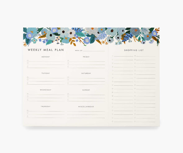 Garden Party Blue Meal Planner Notepad