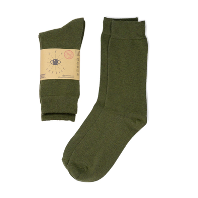 Olive Green Eye Textile Merino Wool Socks