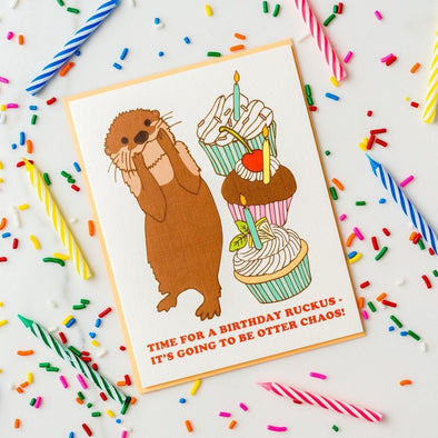Otter Chaos Birthday Card