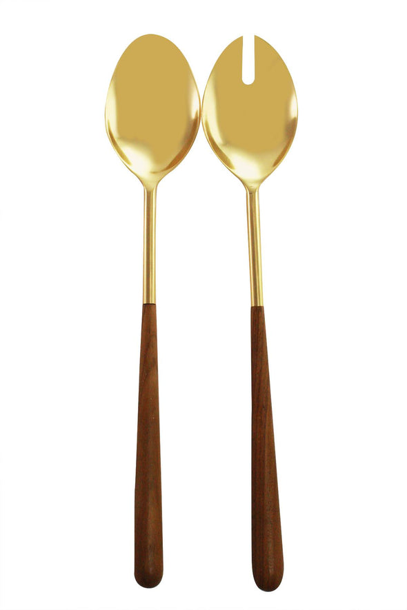 Wood Handled Gold Serving Set