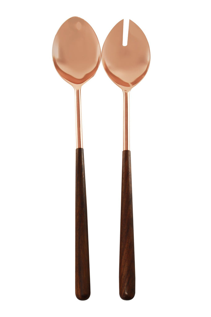 Wood Handled Copper Serving Set