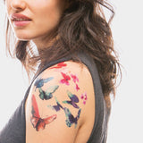 Watercolor Butterflies Temporary Tattoo Set