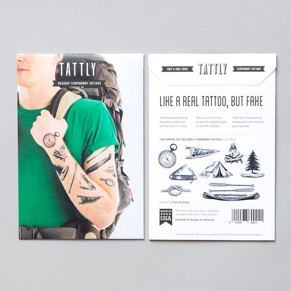 Camping Temporary Tattoo Set