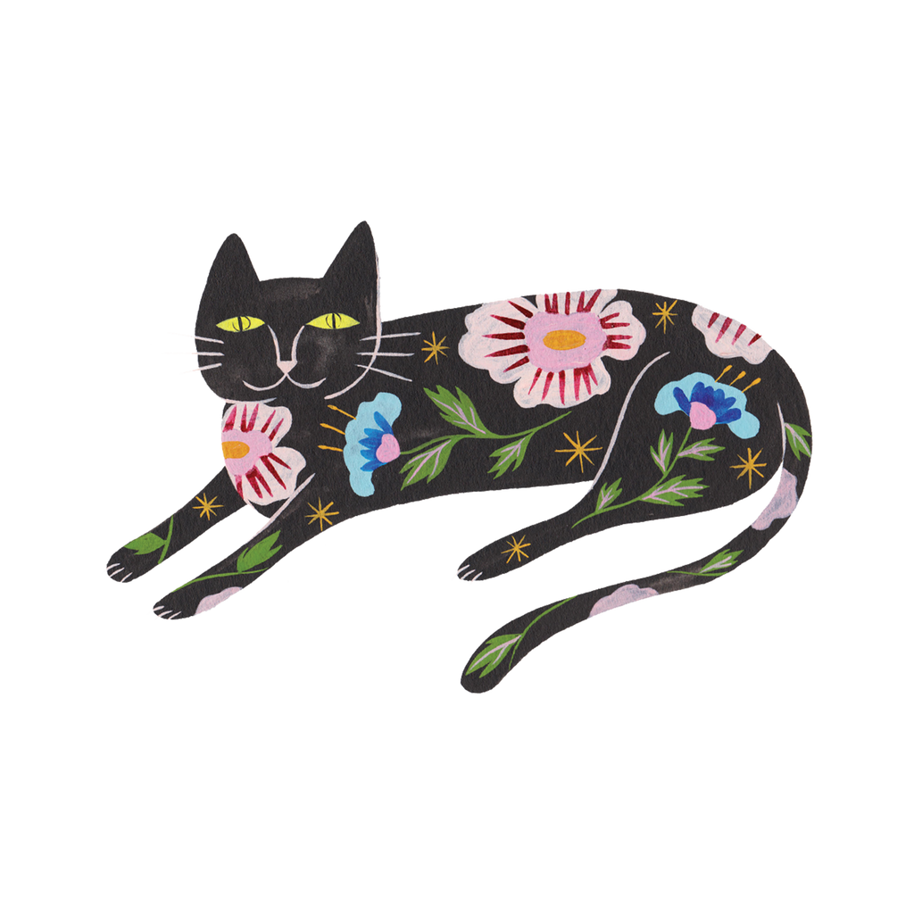 Flower Cat Temporary Tattoos