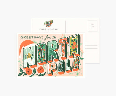 Pack of 10 Greetings from the North Pole Postcards