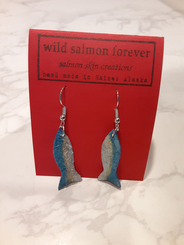Teal / Silver Salmon Earrings
