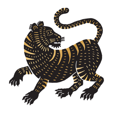 Metallic Tiger Temporary Tattoo