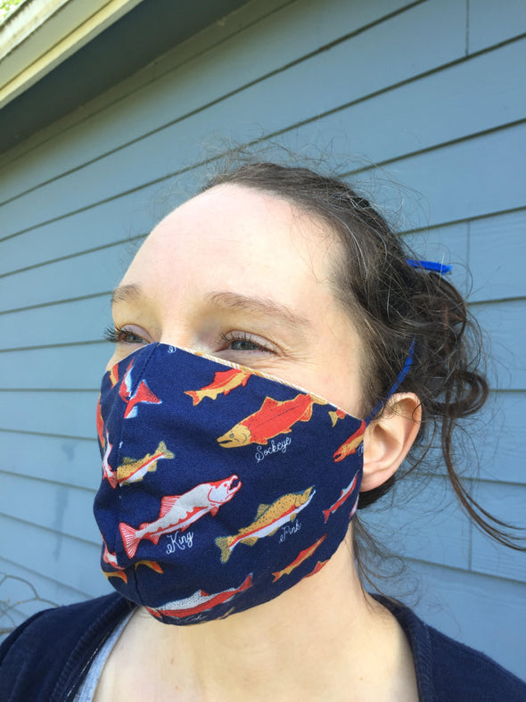 Navy Salmon/Royal Blue Face Mask
