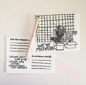 We've Moved Letterpress Postcard Pack
