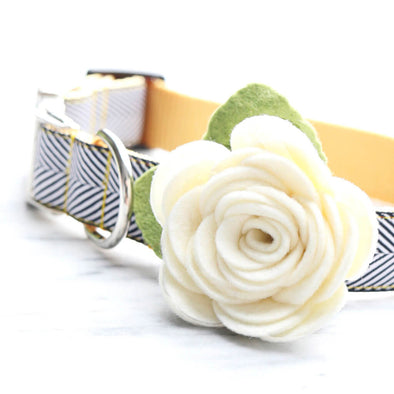 Dog Collar White Rose Flower