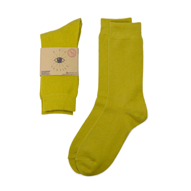 Lemon Yellow Eye Textile Merino Wool Socks