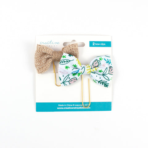 Burlap and Floral Print Bow Set