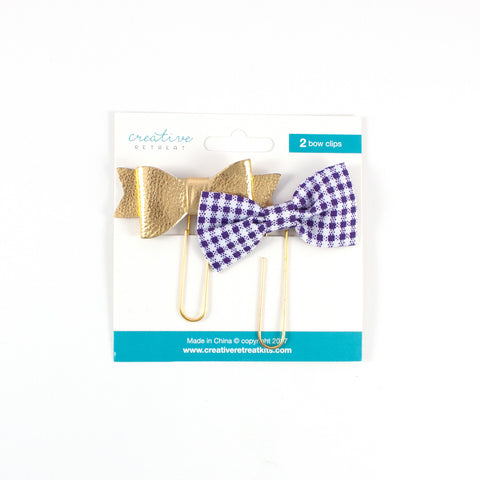 Gingham and Gold Bow Set