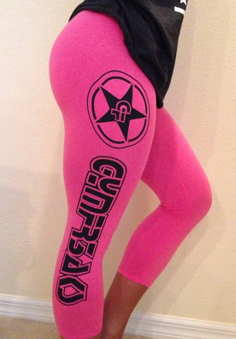 PINK WITH BLACK LOGO CAPRI LEGGINGS