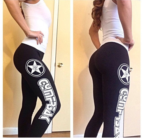 GYMFR3AKS BLACK WITH WHITE LOGO LEGGINGS