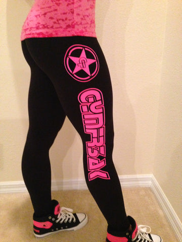 GYMFR3AKS BLACK AND PINK LOGO LEGGINGS