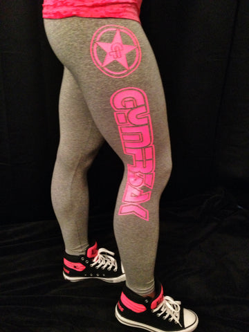 GYMFR3AKS GREY AND PINK LOGO LEGGINGS