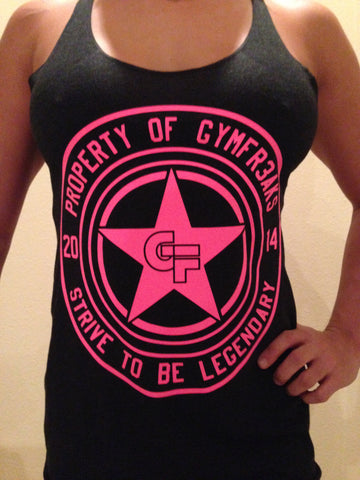 GYMFR3AKS STRIVE TO BE LEGENDARY  RAZORBACK TRI-BLEND TANK