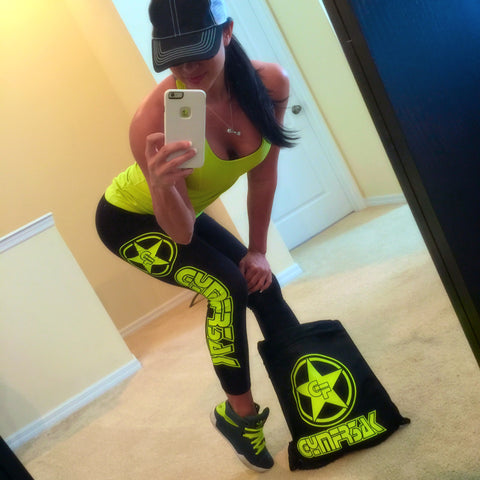 GYMFR3AKS BLACK WITH NEON YELLOW LOGO LEGGINGS