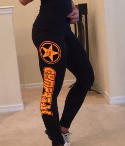 GYMFR3AKS BLACK WITH ORANGE LOGO LEGGINGS