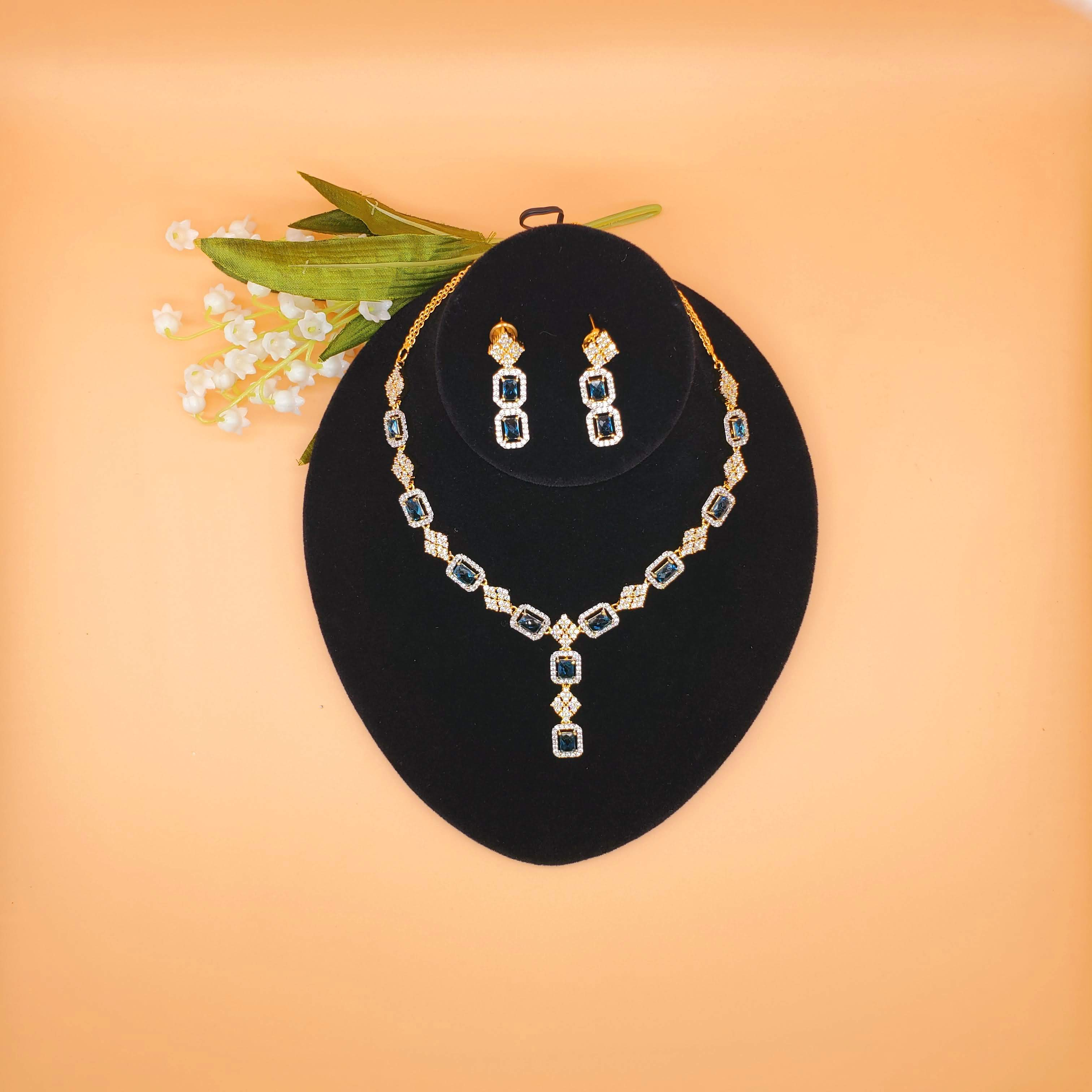 CZ/AD Blue shephire necklace set