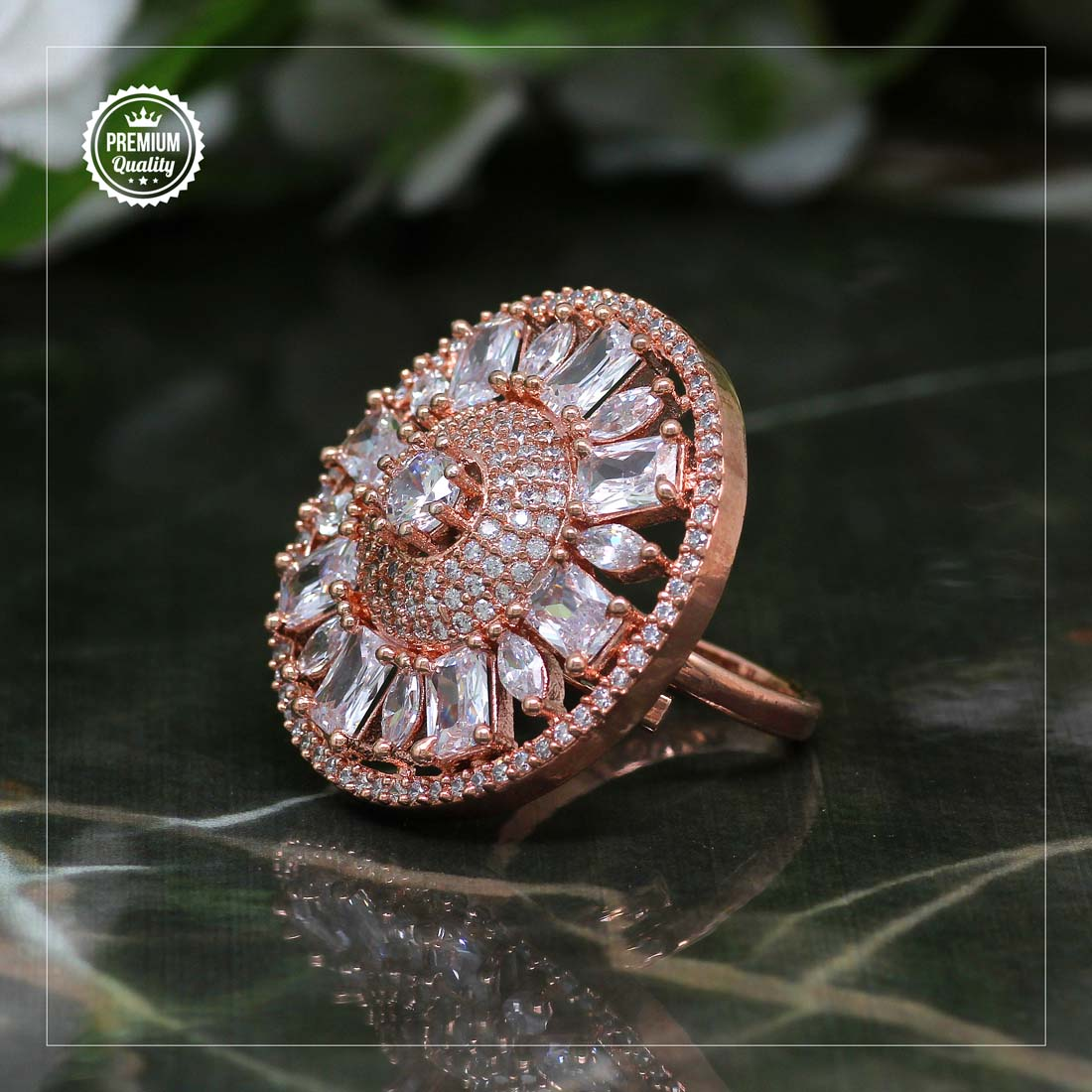 Rosegold Cz Statement Ring