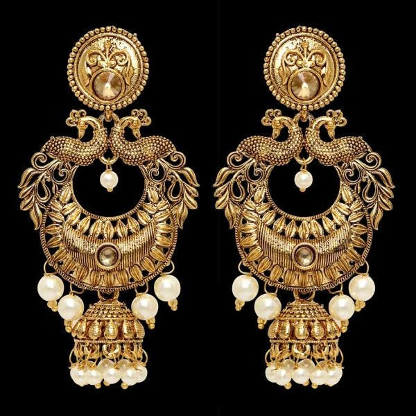 Indian Jewelry/Peacock earring/Antique gold finish with pearl  drop.