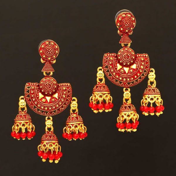 Indian Earring/Indian jewelry/Gold and Maroon chandbali Earring/Zumkha Earring/light weight/antique Jaipur style earring