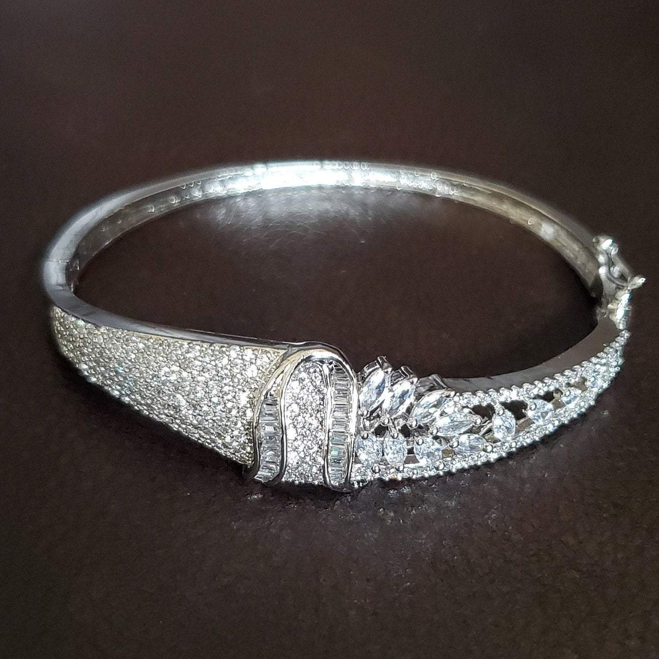 CZ/AD Bracelet/American Diamond Bracelet/Indian cz Diamond Kada/cubic Zircon Bracelet/ Indian cz-ad Diamond bangle/designer diamond bracelet