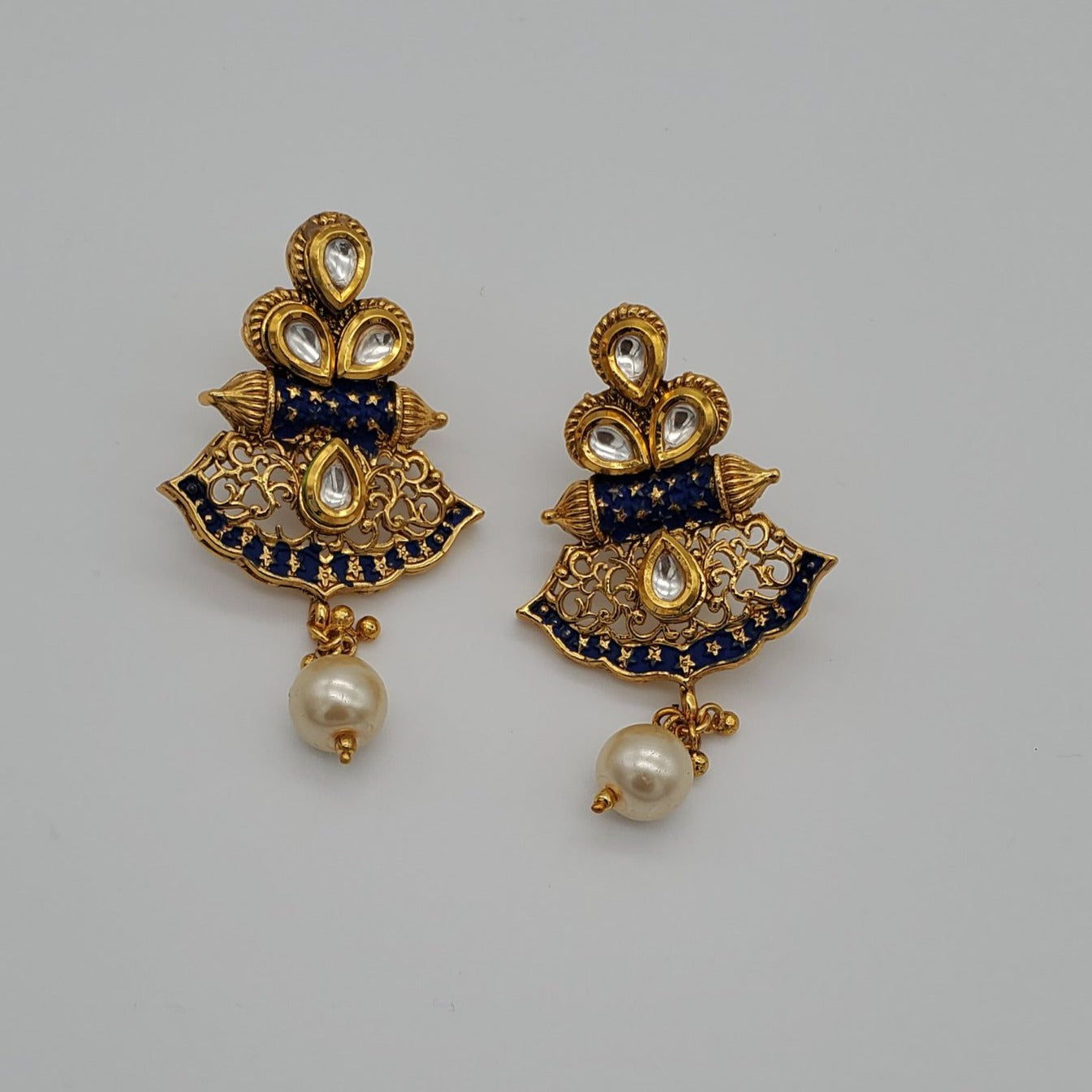 Indian earrings/gold plated earring/artificial earrings/ pearl drop earring/Bollywood style fashion jewelry/meenakari earring/kundan earring