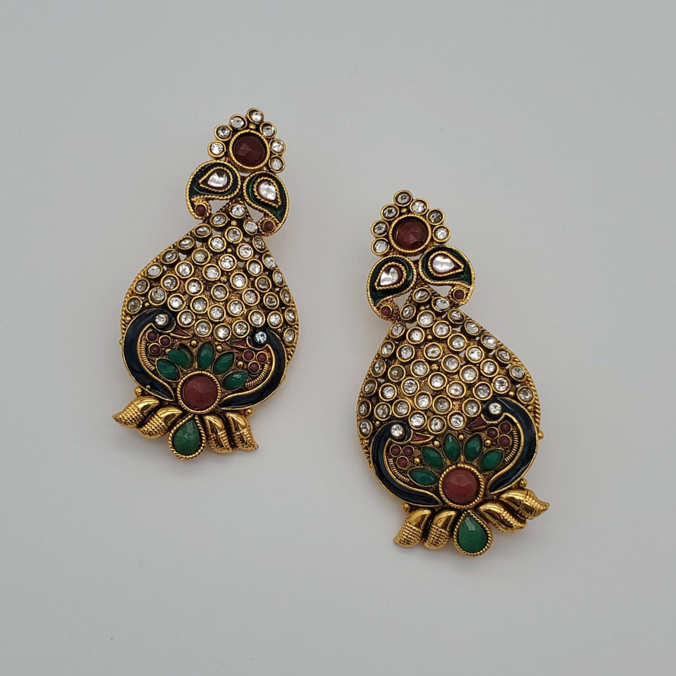 Indian Jewelry/Peacock earring/Antique gold finish earring/kundan jewelry/designer earring/fashion earring/glam jewelry/traditional earring