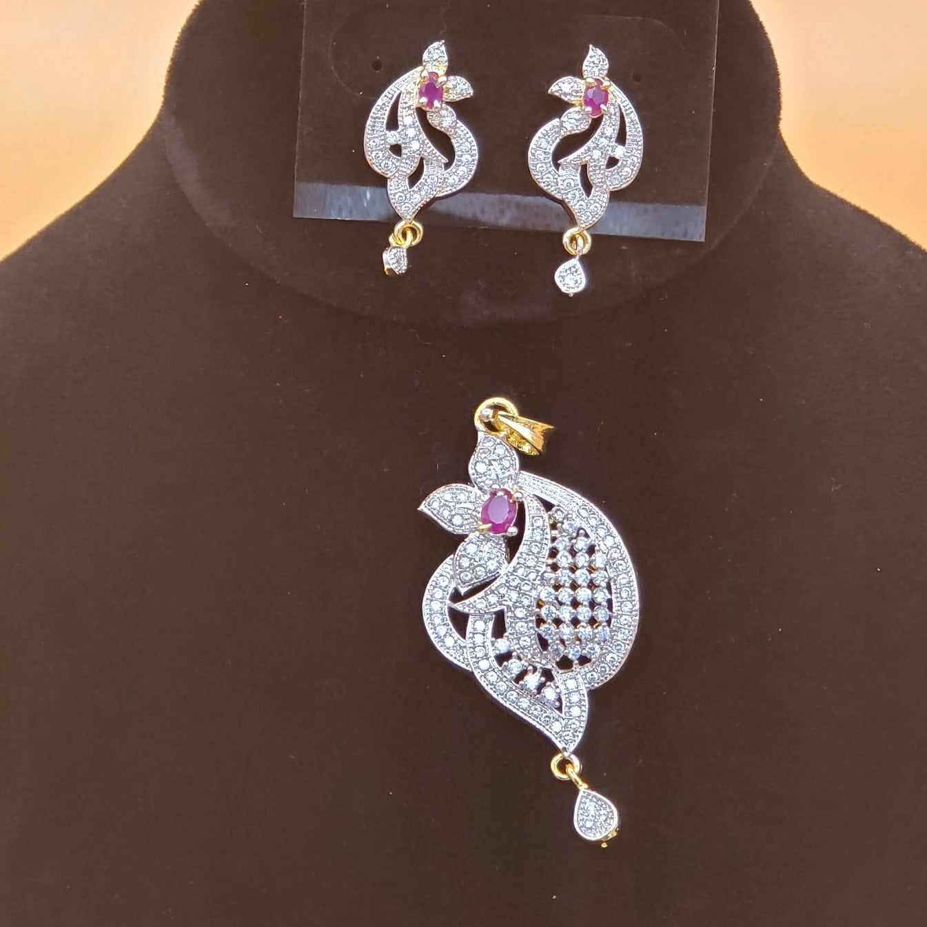 cz pendent set/american diamond jewelry/cubic zircon jewelry/Indian jewelry/artificial jewelry set/designer pendent set with earrings/cz set