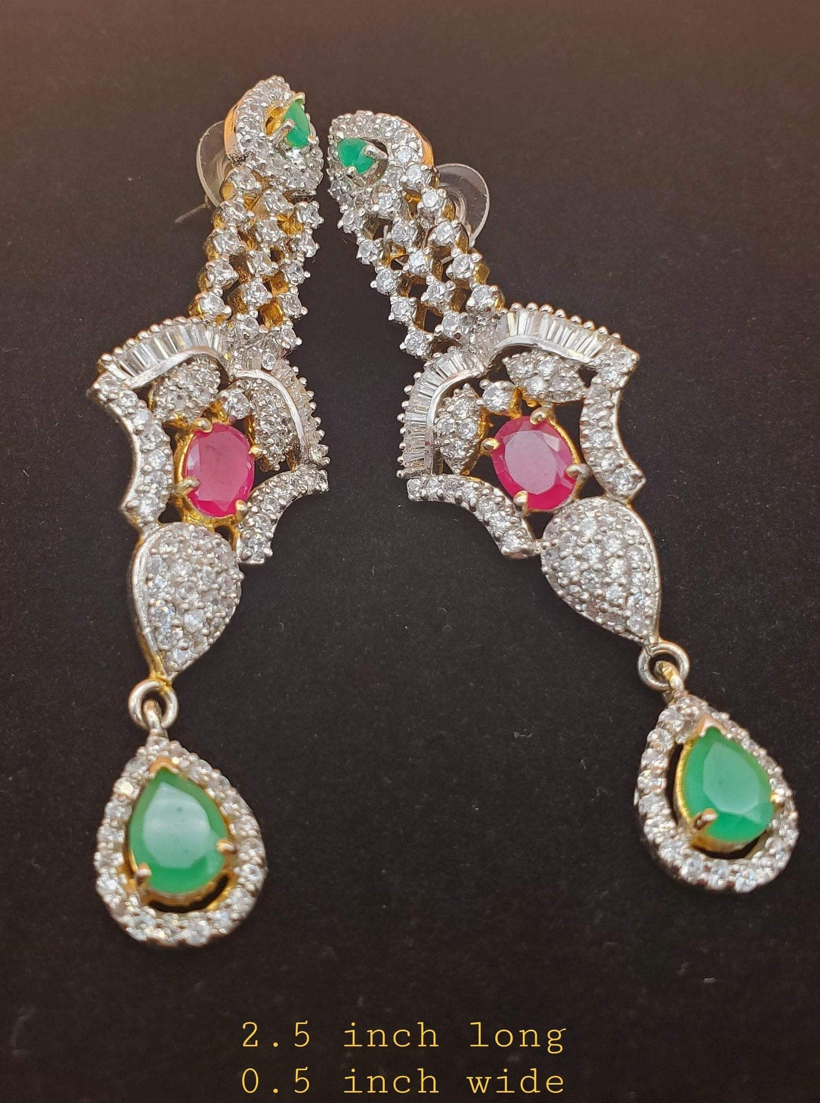CZ/AD earrings/statement bridal earring/Indian gold silver CZ diamond earring/Bollywood designer jewelry/long party wear earring/bridal gift