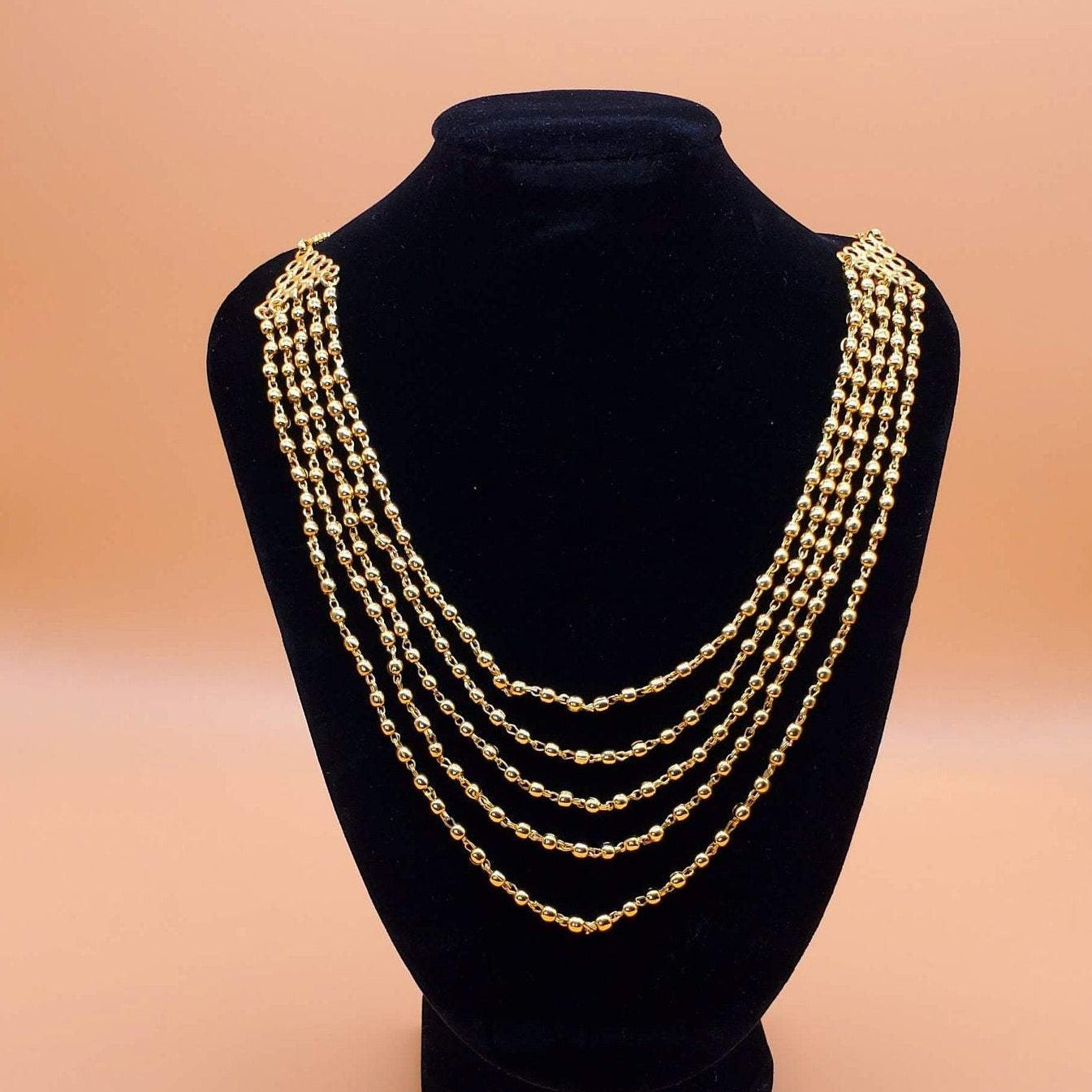 gold chain/multi row ballchain/indian jewelry/goldplated chain/mohan mala/rajawadi gold chain/antique goldmala/highquality designer jewelry