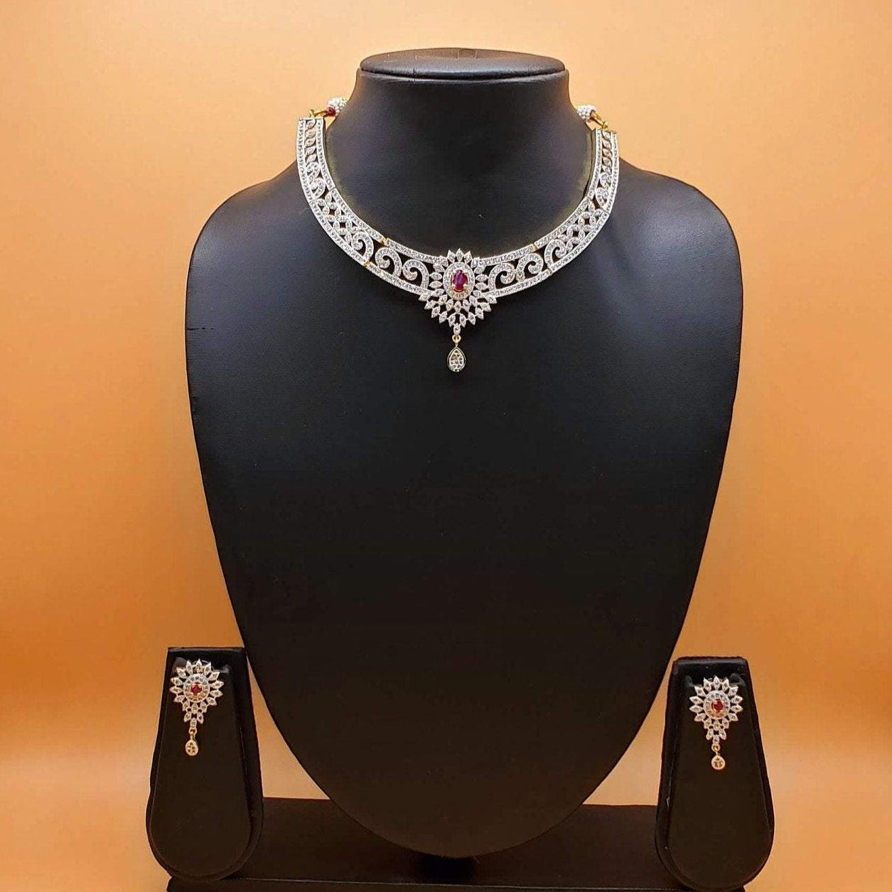 american diamond necklace set/cz diamond necklace set/wedding necklace set/Bollywood jewelry/Designer jewelry/Indian jewelry/diamond jewelry