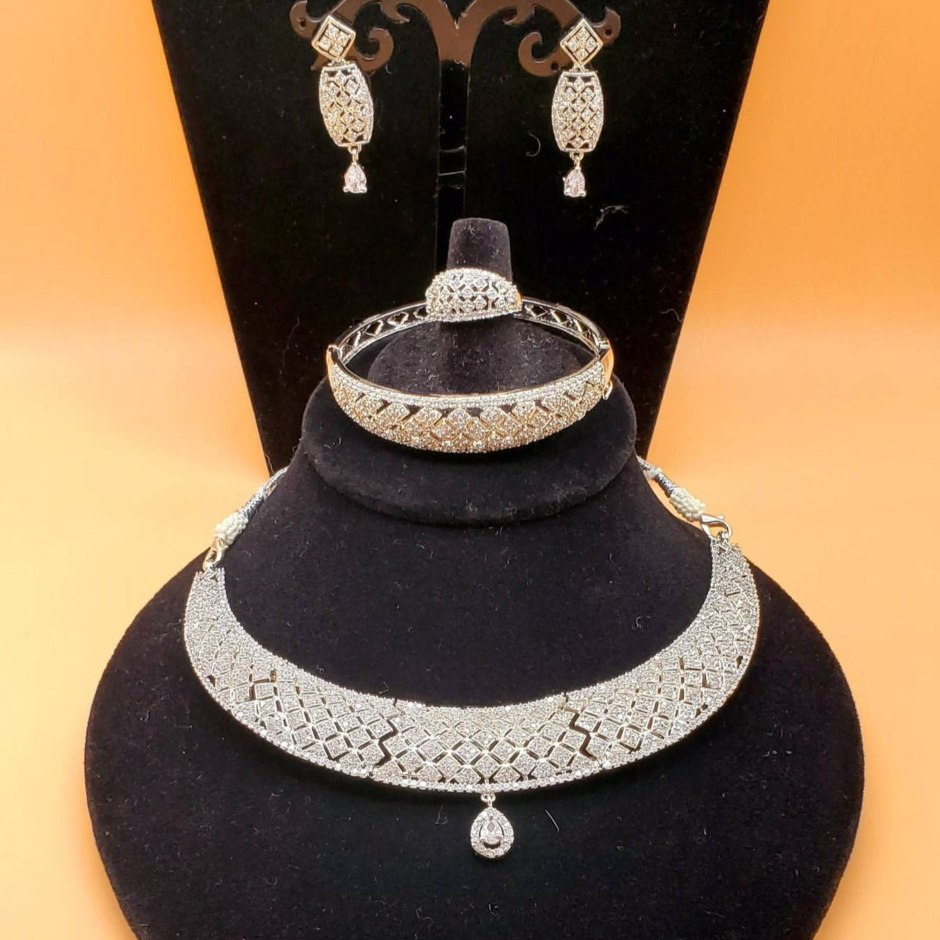 CZ/AD bridal necklace set/cz diamond necklace /wedding necklace/Bollywood jewelry/high quality silver rhodium plated/indian bridal jewelry