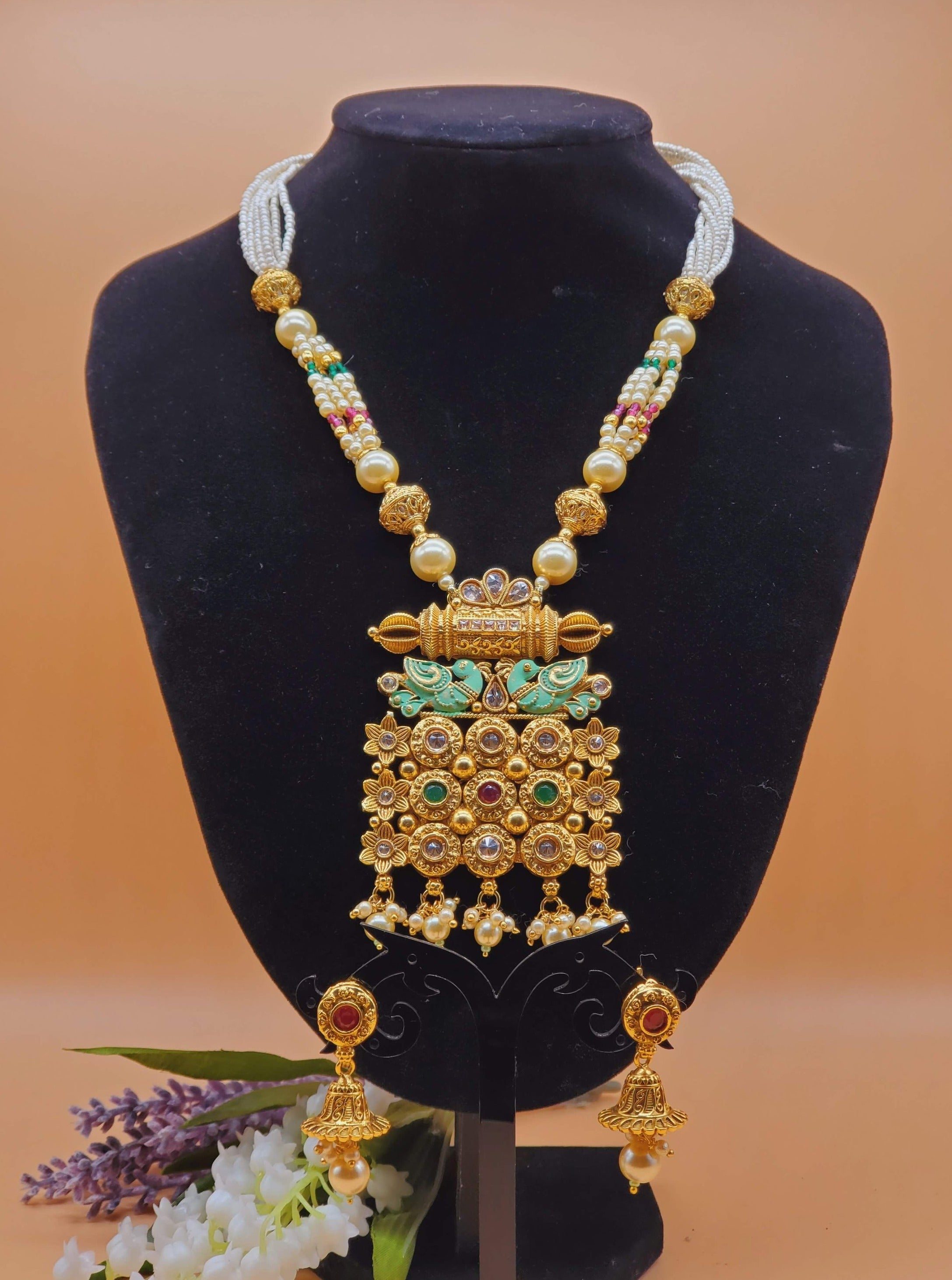 kundan Necklace set/long kundan rani haar/designer long necklace/pearl necklace/Indian jewelry/Indian bridal necklace set/artificial jewelry