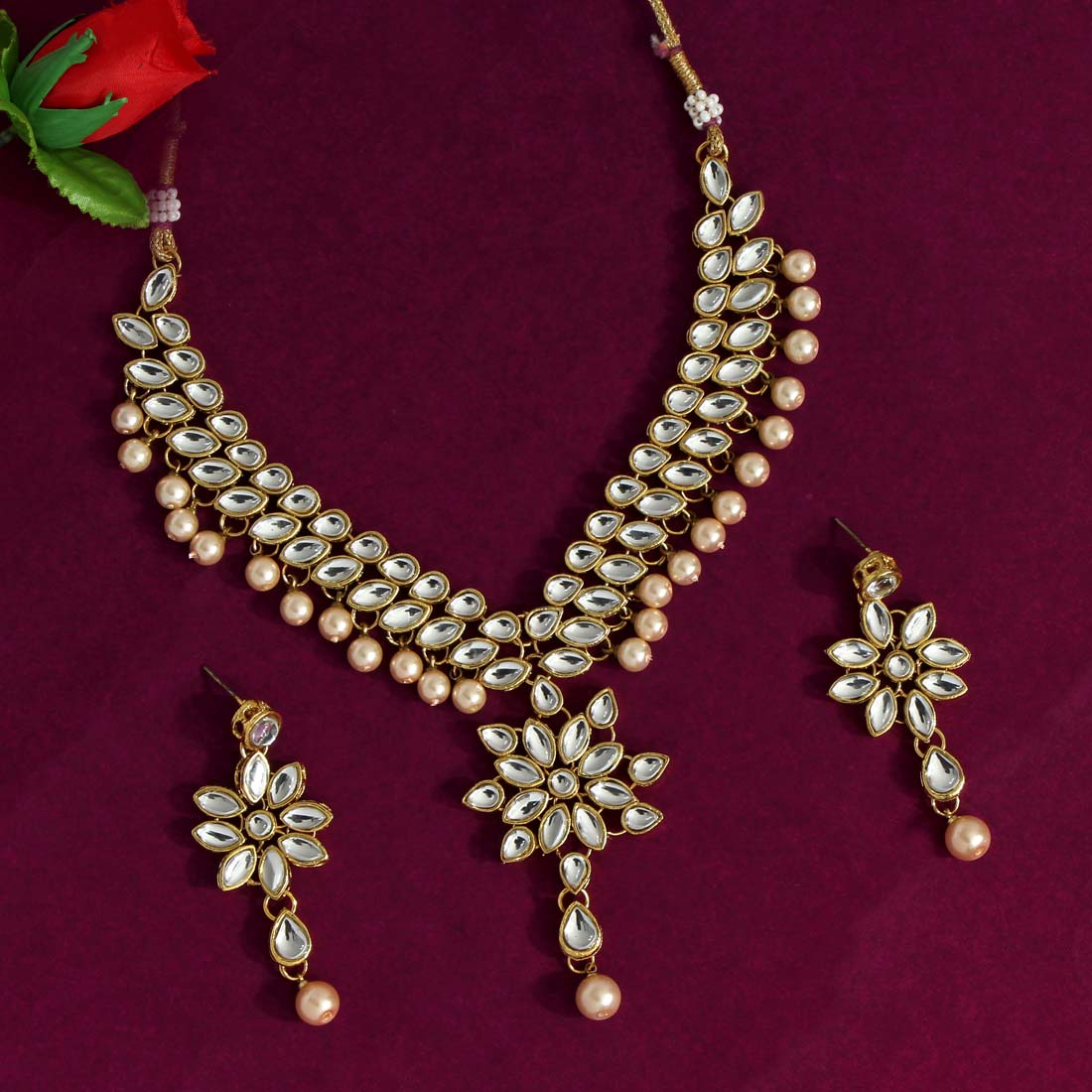 Kundan necklace set with white pearl