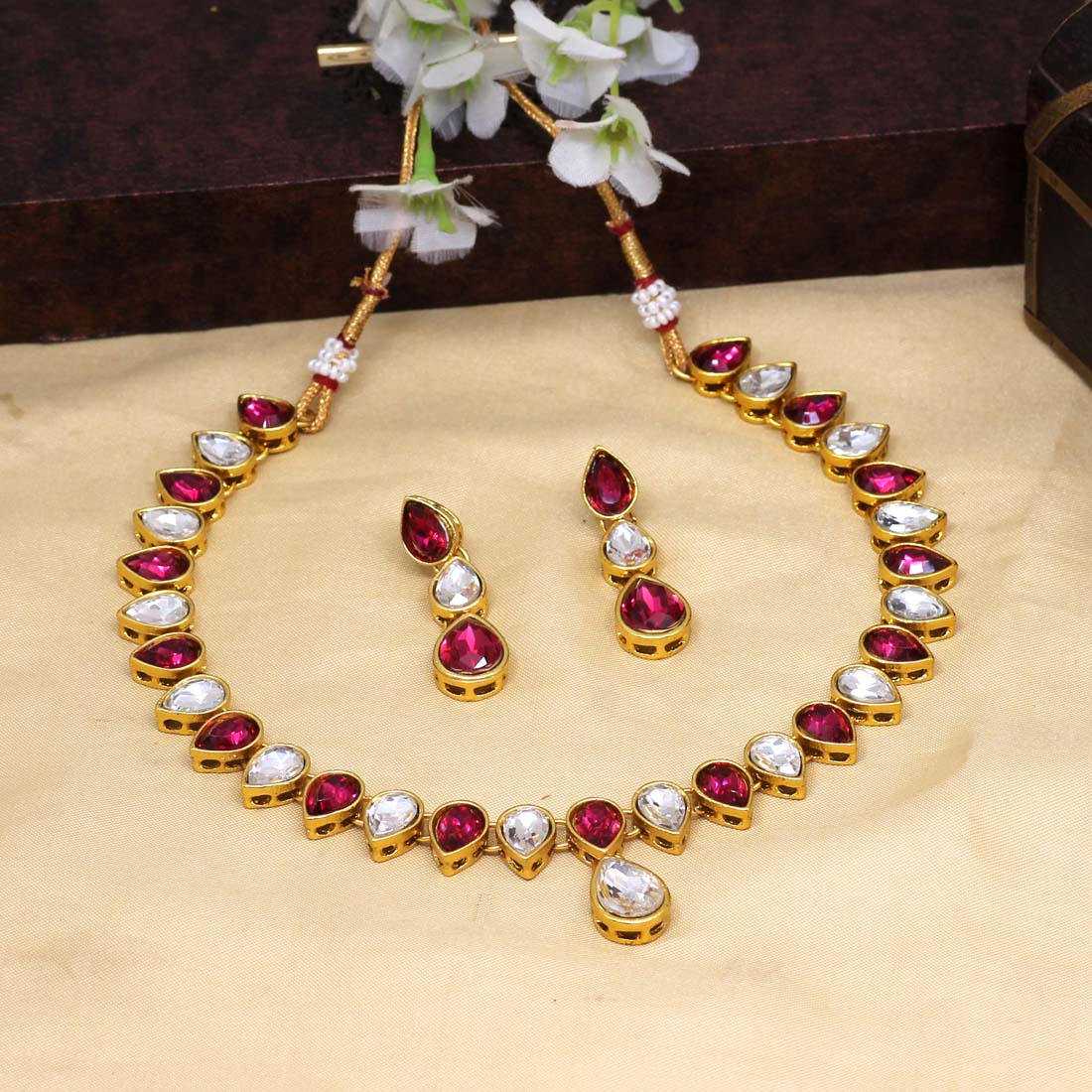 Rani Glass Stone Kundan necklace set