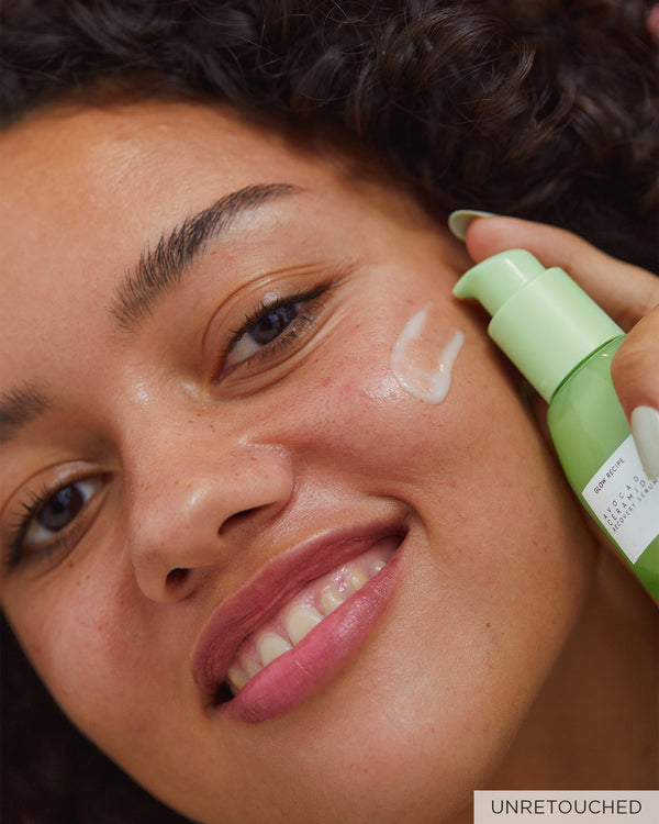 unretouched model image with avocado ceramide recovery serum