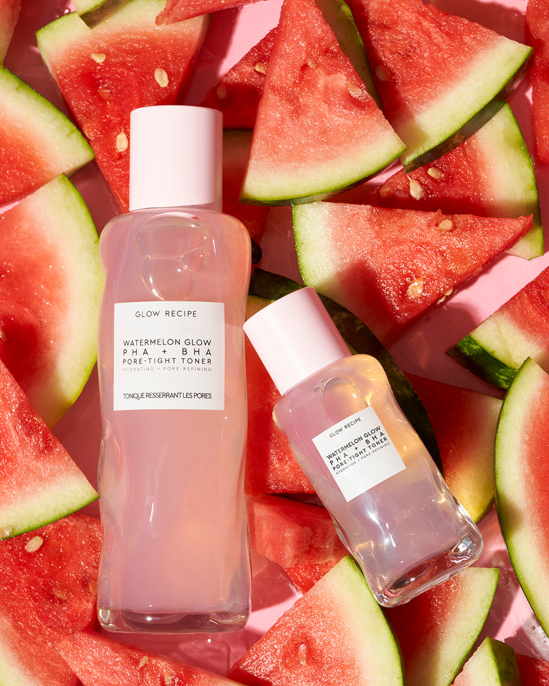 Full size and mini size watermelon glow PHA + BHA pore-tight toner on watermelon slices