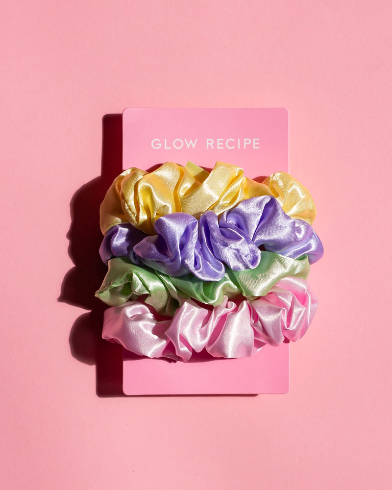 glow gang scrunchie set on pink backdrop