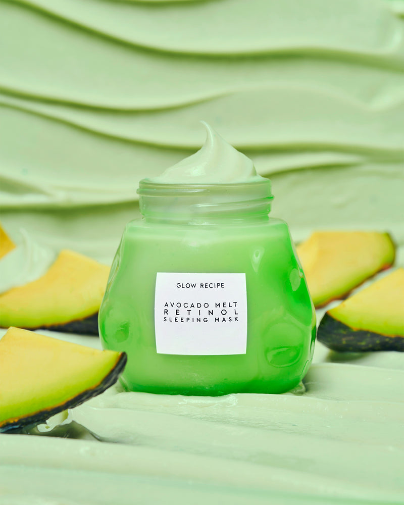 avocado melt retinol face sleeping mask with texture shot background and real avocados