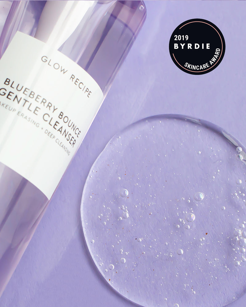 blueberry bounce gentle cleanser 2019 byrdie skincare award close up texture shot with bottle