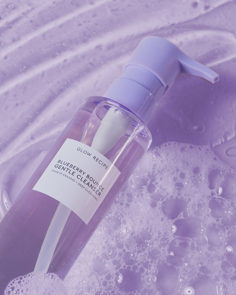 blueberry bounce cleanser next to foamy texture