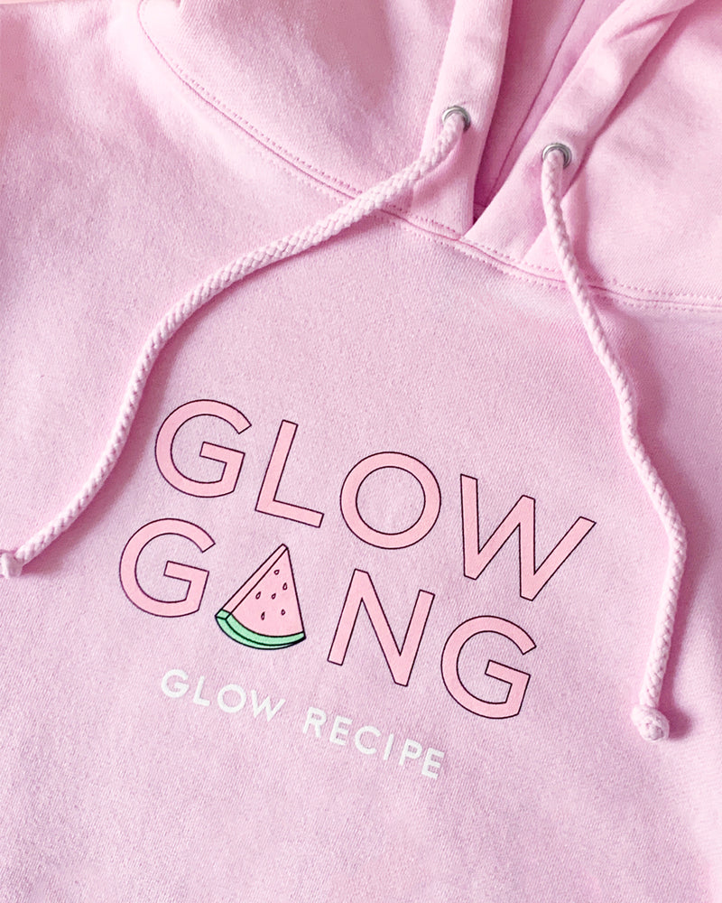 close shot of glow gang hoodie graphic
