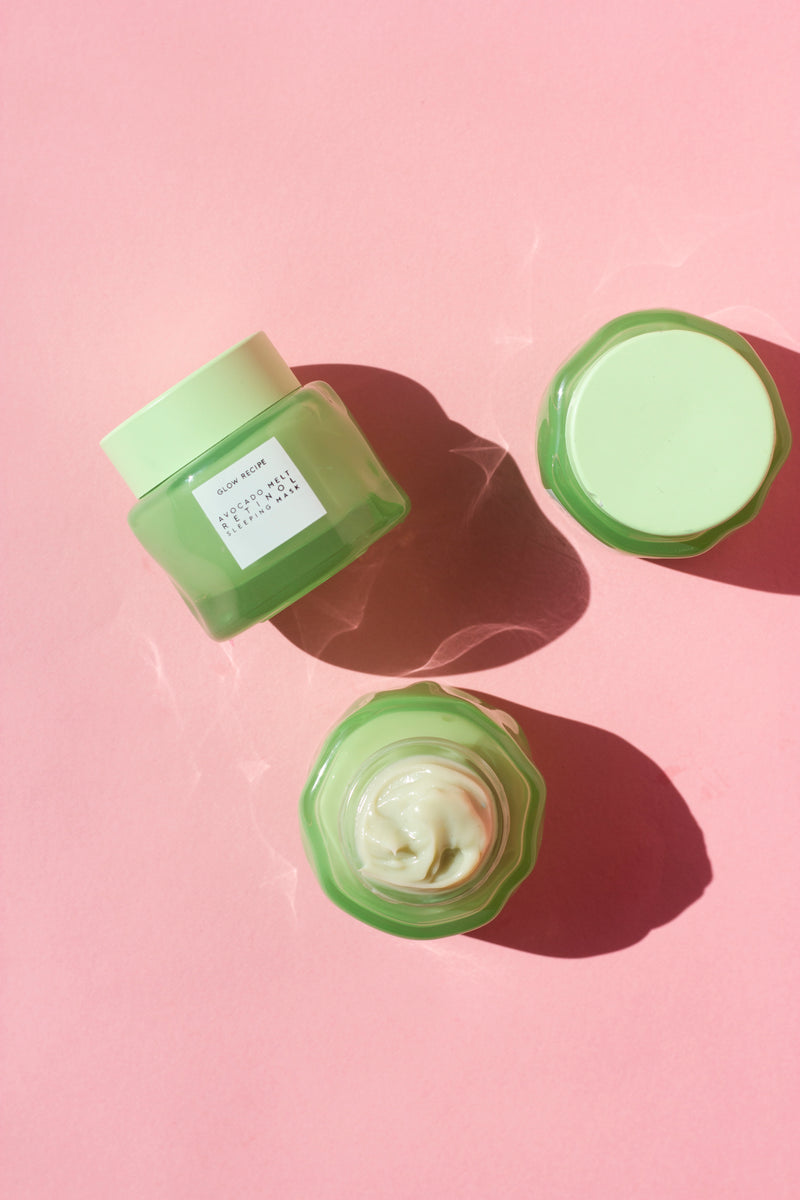 avocado melt retinol face sleeping mask on pink background
